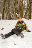 Beautiful woman in ski suit in snowy winter Royalty Free Stock Photos