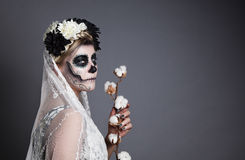 Beautiful woman in skull makeup Royalty Free Stock Images