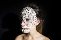 Beautiful woman with skull mask Royalty Free Stock Image