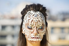 Beautiful woman with skull mask Royalty Free Stock Photo