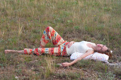 Beautiful woman sleep in the meadow Royalty Free Stock Images