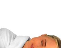 Beautiful Woman Sleeping. Isolated on White Background stock photo