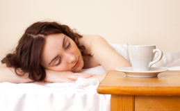 Beautiful woman sleeping in bed Royalty Free Stock Image