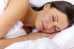 Beautiful woman sleeping in bed Stock Image
