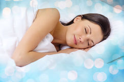 Beautiful woman sleeping in bed Royalty Free Stock Photos