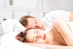 Beautiful woman sleeping on the bed Royalty Free Stock Photography