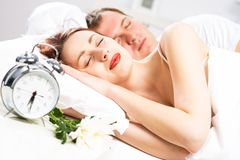 Beautiful woman sleeping on the bed Royalty Free Stock Photo