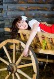 Beautiful woman sleeping in the cart Stock Photo