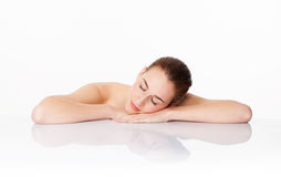 Beautiful woman sleeping after cleansing, hydration and soothing skin treatment Stock Photo