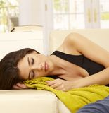 Beautiful woman sleeping at home Royalty Free Stock Photography