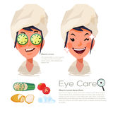 Beautiful woman with sliced cucumber on her eyes. eyes care conc. Ept. tomato. slice -  illustration Royalty Free Stock Photography