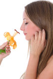 Beautiful woman smelling flower Stock Photo
