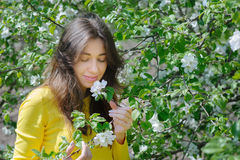 Beautiful woman smelling a flower in the spring garden Stock Photos