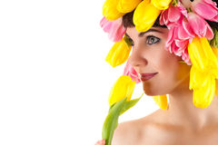 Beautiful woman smelling a tulips Royalty Free Stock Photos