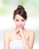 Beautiful woman smile with clean face skin Stock Image