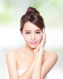 Beautiful woman smile with clean face skin Stock Images