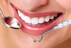 Beautiful woman smile. Dental health care clinic Royalty Free Stock Photography