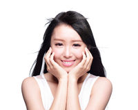 Beautiful woman smile face. Beauty Skin care concept, Beautiful woman smile face with health teeth and hair isolated on white background, asian Stock Image