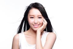 Beautiful woman smile face. Beauty Skin care concept, Beautiful woman smile face with health teeth and hair isolated on white background, asian Royalty Free Stock Photo