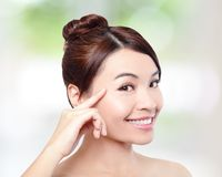 Beautiful woman smile face with clean face skin Royalty Free Stock Photos
