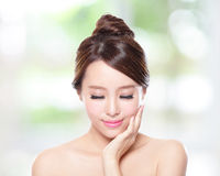 Beautiful woman smile face closed eye Stock Images