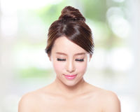 Beautiful woman smile face closed eye Royalty Free Stock Photography
