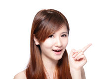 Beautiful woman smile pointing Royalty Free Stock Photo