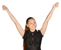 Beautiful woman with a smile rejoices his success Stock Photos