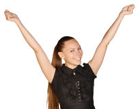 Beautiful woman with a smile rejoices his success Royalty Free Stock Photos