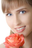 Beautiful woman smile with rose. Isolated Royalty Free Stock Photos