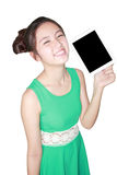 Beautiful woman smile and showing tablet pc Stock Image