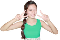 Beautiful woman smile and showing victory sign Stock Photography