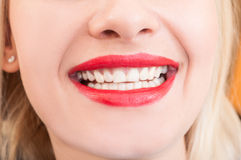 Beautiful woman smile, teeth or denture Royalty Free Stock Images