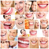 Beautiful woman smile. Beautiful women smile. Dental health care collage Stock Photography