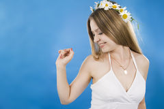 Beautiful woman smiles stock images