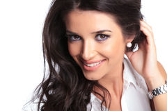 Beautiful woman smiles at camera Stock Image