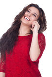 Beautiful woman smiles to your cellular.... Royalty Free Stock Images