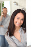 Beautiful woman smiling Royalty Free Stock Photos