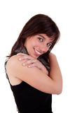 Beautiful woman, smiling and embracing Stock Photo