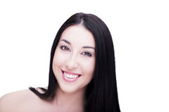 Beautiful woman smiling face close up on white background Royalty Free Stock Images