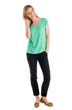 Beautiful Woman Smiling With Hand In Pocket Royalty Free Stock Image