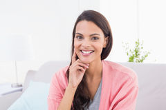 Beautiful woman smiling at home Royalty Free Stock Image