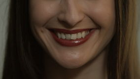 Beautiful woman smiling and laughing closeup. stock video