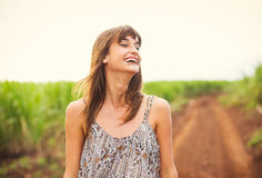 Beautiful Woman Smiling, Laughing, Fashion Lifestyle Stock Images