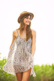 Beautiful Woman Smiling, Laughing, Fashion Lifestyle Royalty Free Stock Photography