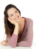 Beautiful  woman smiling looking at copyspace Stock Photos