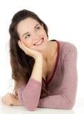 Beautiful  woman smiling looking at copyspace Stock Photos