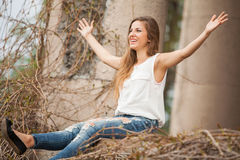 Beautiful woman smiling with open hands Royalty Free Stock Image