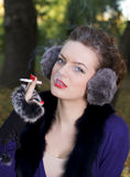 Beautiful woman smoking Royalty Free Stock Photo