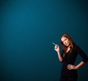 Beautiful woman smoking cigarette vith copy space Royalty Free Stock Photos
